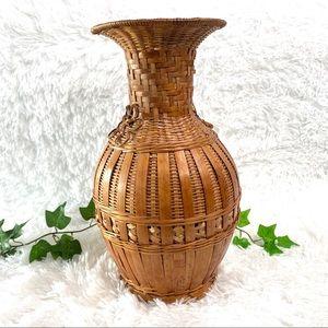 Vintage Woven Wicker Rattan Vase Basket Decor